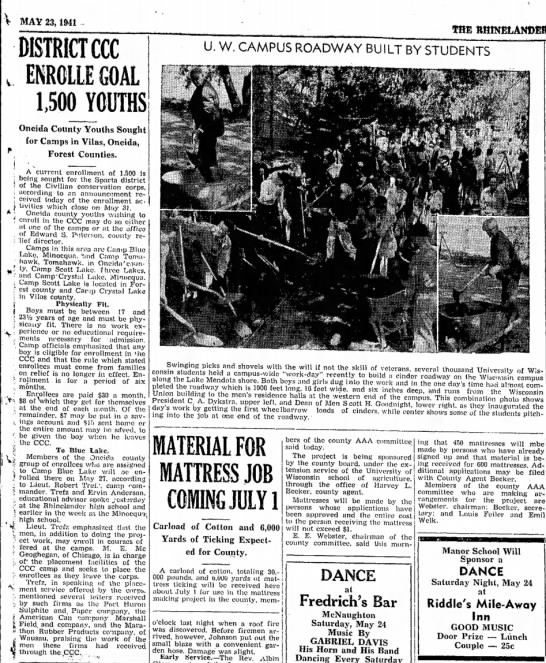 23 May 1941 Sparta District CCC Enrolle Goal 1,500 Youths -
