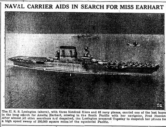 Naval varrier aids in search for miss earhart -