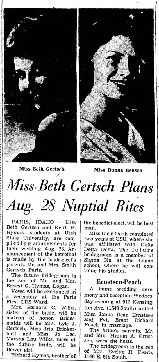 26 Jul 1959 Miss Beth Gertsch Plans..., Miss Iris Brinkerhoff -