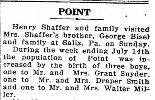 Point's Boy Population increases with the Smith's & Snyders -