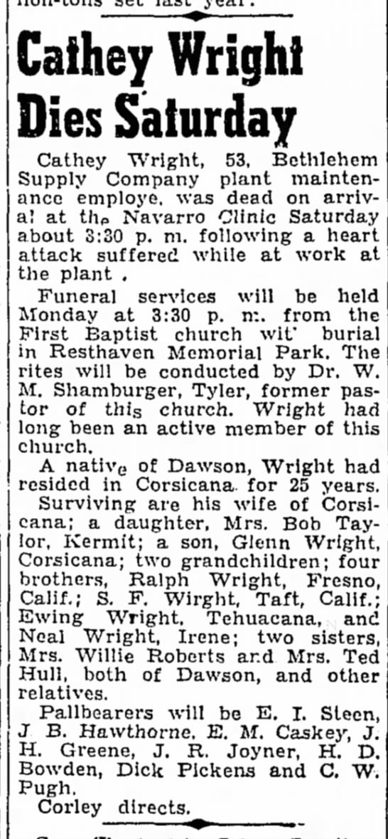 Boyd Cathey Wright obit -