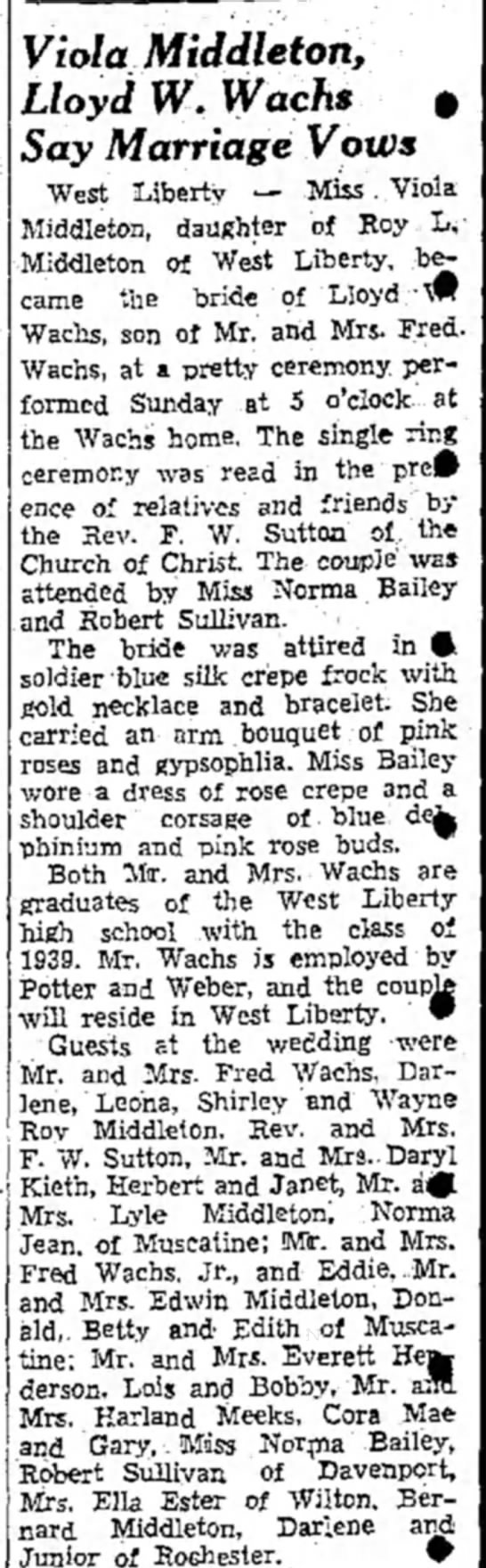 Viola Middleton /Lloyd Wachs marriage 15 Sept 1940 -