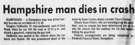 Gregory DuMoulin Car Accident - Newspapers com