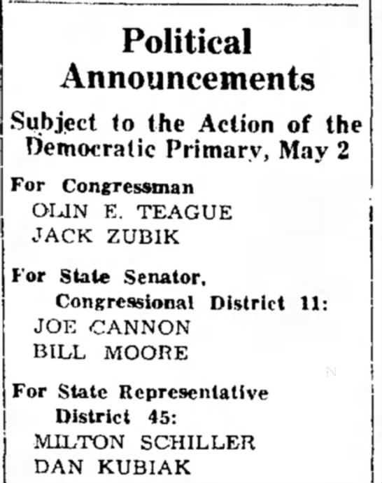 Jack Zubik -- Political Announcement -