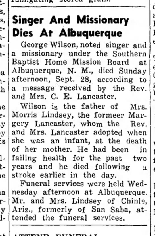 Father of Mrs. Morris Lindsey -
