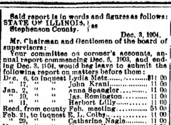 12.3.1904 - coroner listing report - Catherine Nagle (Freeport Newspaper) -