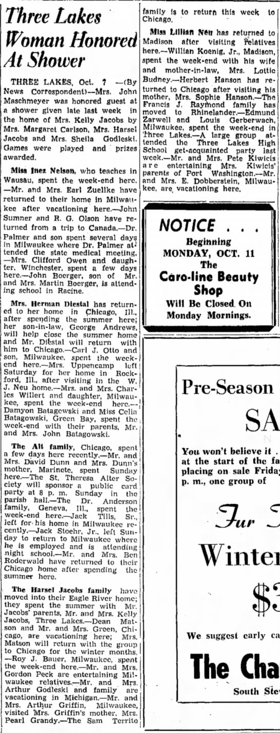 Sam Territo family returns to Chicago, 1948 - Three Lakes Woman Honored At Shower THREE...
