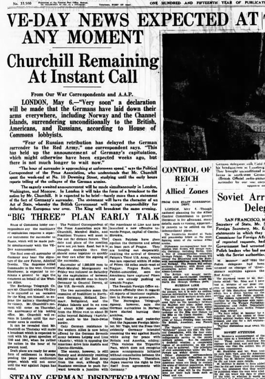 "May 7 Australian newspaper reports ""VE-Day News Expected at Any Moment"" -"