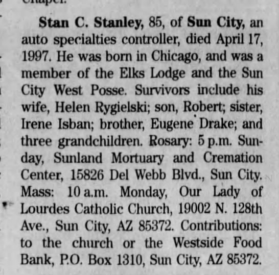 Stan C. Stanley Obituary 20 Apr 1997 -