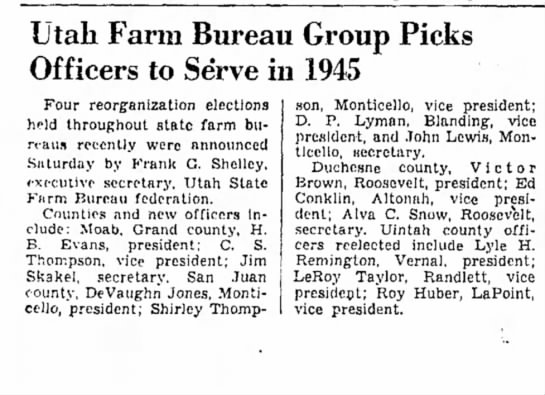 Salt Lake Tribune January 22, 1945 Alva Snow elected officer in Utah Farm Bureau. -