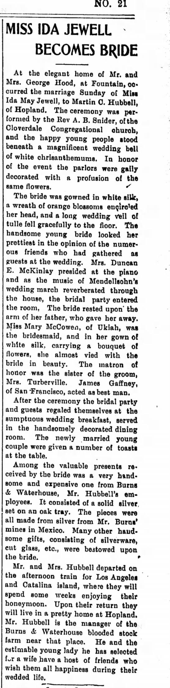 Ida May's First Wedding -