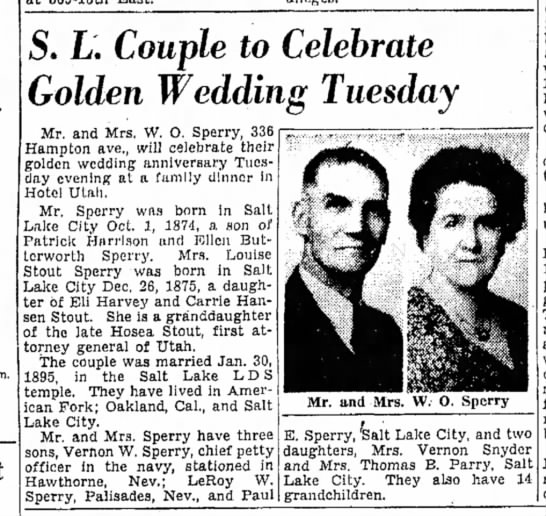 Sperry Anniversary again - m. . L. Couple to Celebrate Golden Wedding...