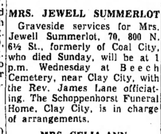 Summerlot, IN - MRS. JEWELL SUMMERLOT Graveside services for...
