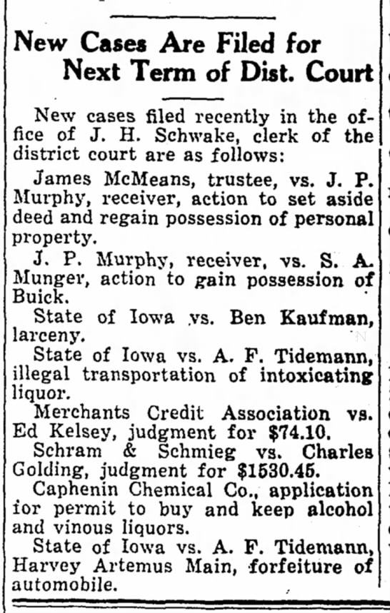 August bootlegging 1932 - Vew Cases Are Filed for Next Term of Dist....