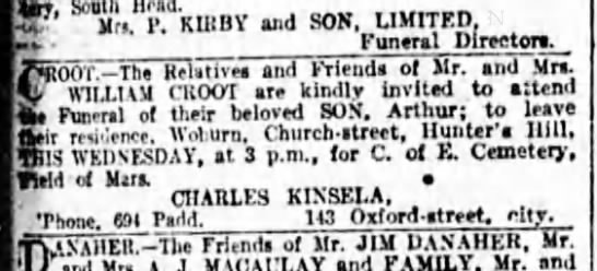 S.M.Herald 25th Oct 1922 Funeral of Arthur Croot -