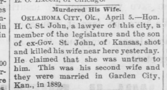 H. C. St. John murdered wife because she was 'untrue' to him. -