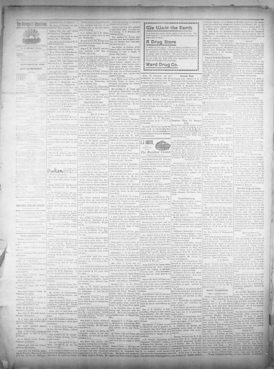 Community News from Cherryvale, Kansas 1898 -