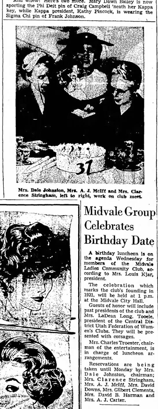 1958 Agnes Carrigan Johnstonw/ Ladies' Comm. Club, Midvale  -