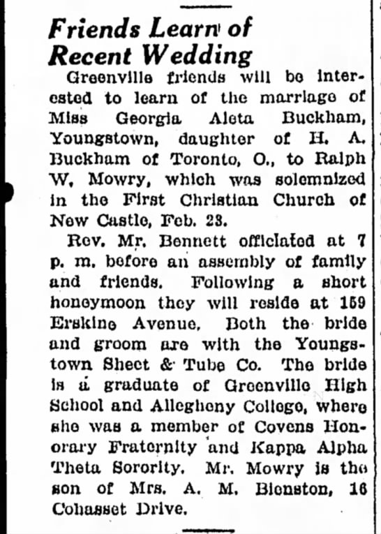 Georgia Buckham wedding February 28, 1939 - Newspapers com
