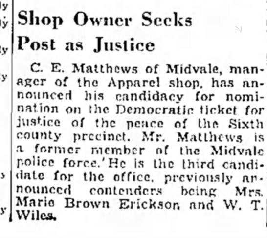 Justice of the peace candidate from the PD 8-7-38 -