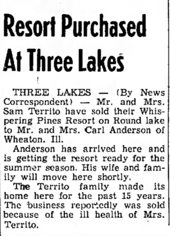 Whispering PInes Purchased 2 June 1960 -