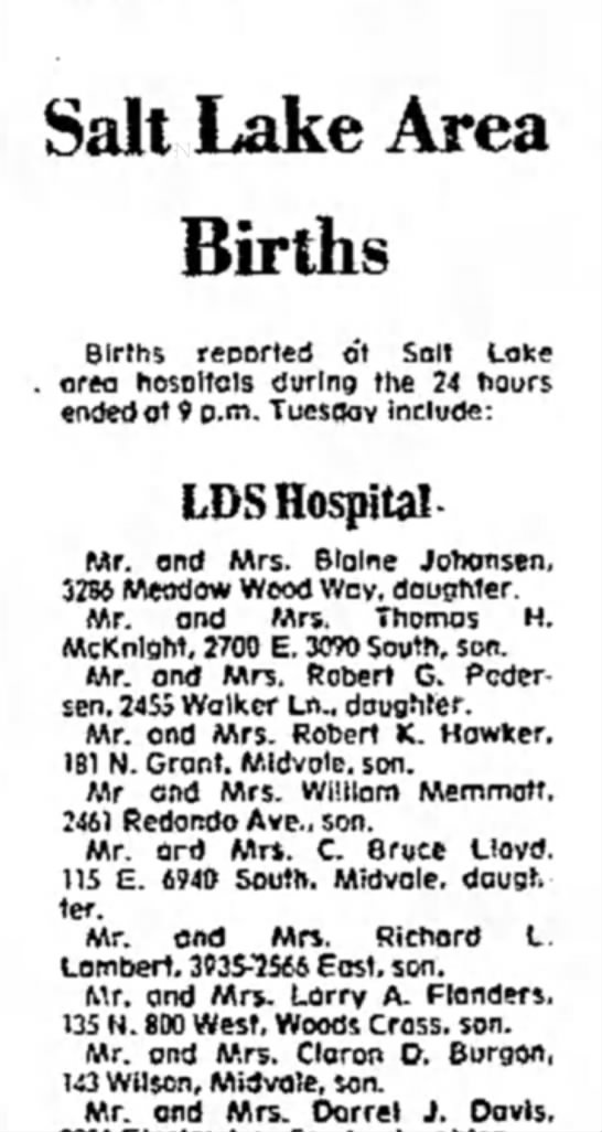 1974  Brannon's birth notice -