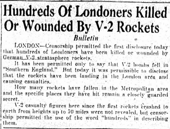 Hundreds of Londoners Killed or Wounded by V-2 Rockets -