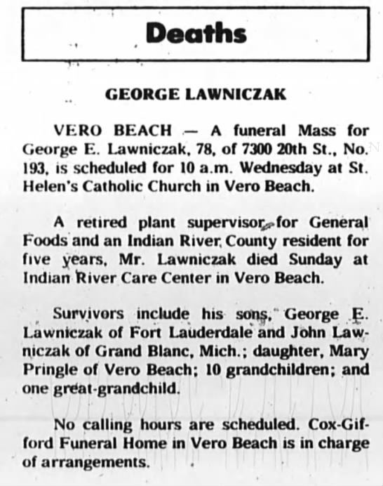 George Lawniczak Obituary - 25 Dec 1984 -
