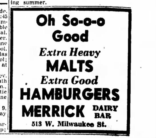 Merrick Dairy Bar 7 June 1957 -