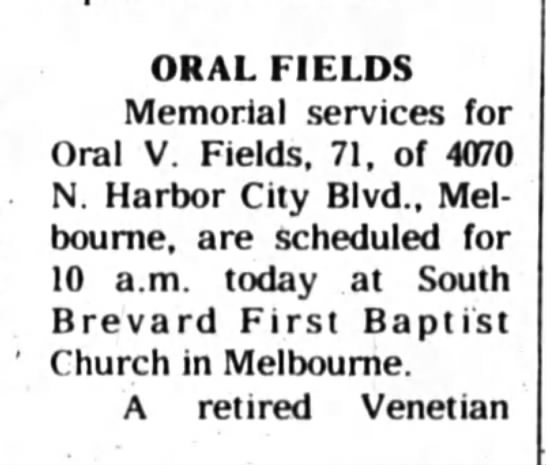 Oral Fields Obituary -