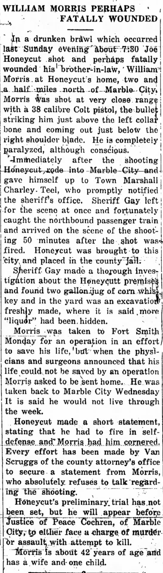 Joe Honeycutt shoots his brother in law William Morris. -