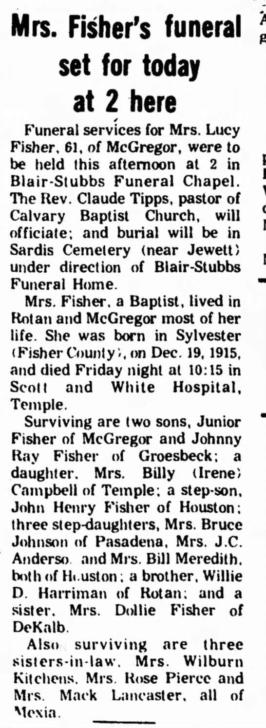 Lucy Fisher (Nee Hariman) - Obituary -