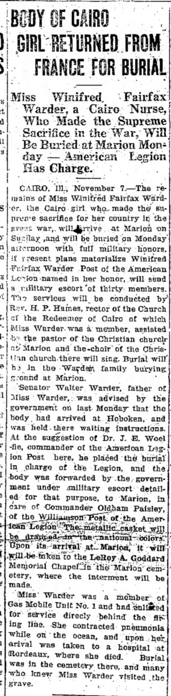 Winifred Fairfax Warder buried in Marion IL (1920) -