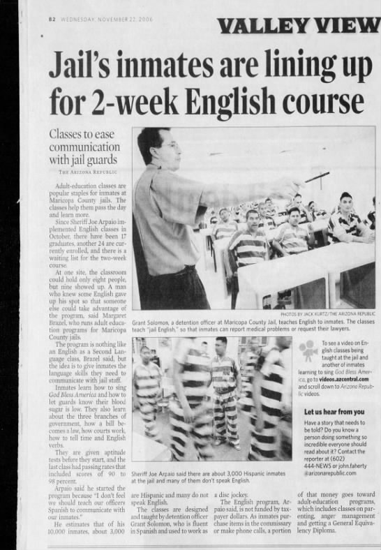 11 22 2006_AZRepublic_Jail Inmates English Course