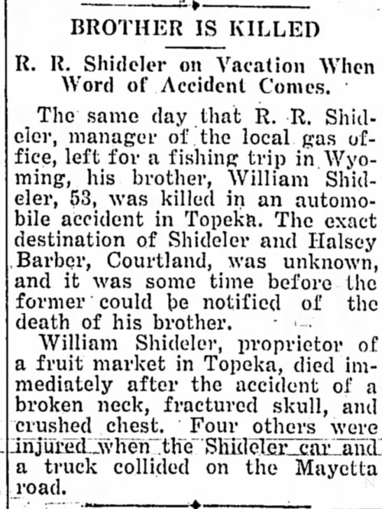 Raymond and William Shideler Misc. Newspaper Story (3 Sep 1936) -