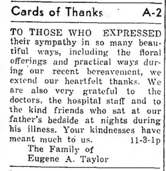 The San SAba News and Star 3 Nov 1955 Pg 11 Card of Thanks Eugene A Taylor  -