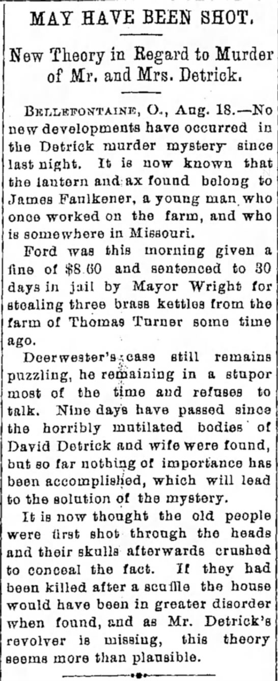 May Have Been Shot Xenia Daily Gazette 19 Aug 1897 -
