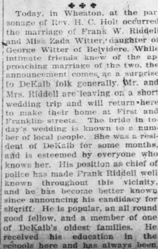 Marriage of Frank W Riddell and Zada Witter - part 1 - bottom of column 3 -