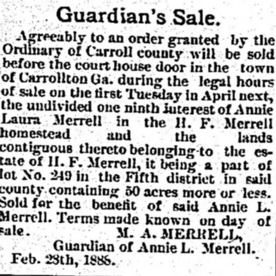 Land of H.F. Merrell being sold -