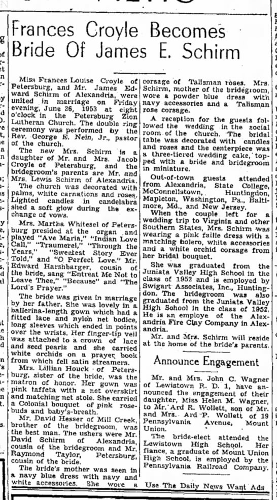 Frances Croyle-wed.TDN-p. 15-1 July 1953 -