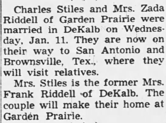 Marriage of Mrs. Zada Riddell and Charles Stiles Jan 11, 1956 -