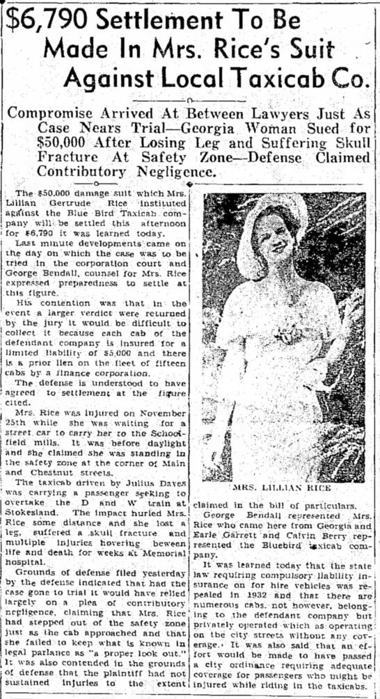 Julius Daves Settlement - Danville Bee - 15 Apr 1936 -