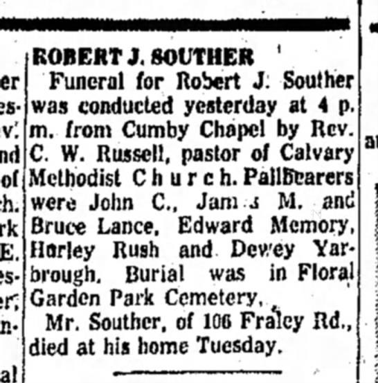 Robert Joseph SoutherThe High Point Enterprise7 April 1961 -