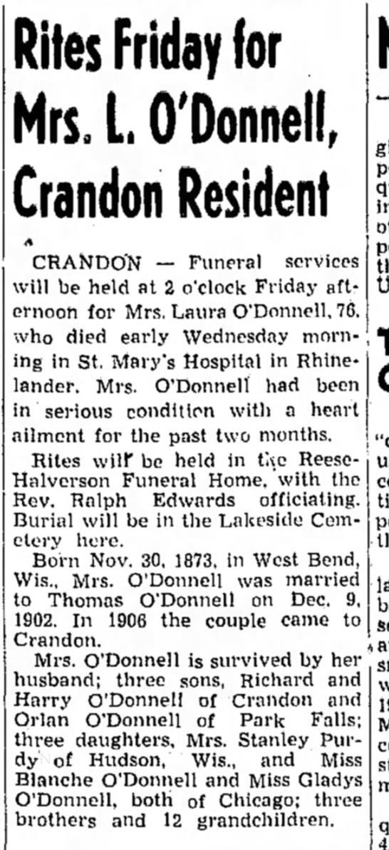 Mrs. Laura O'DonnellObituary - The Rhinelander Daily News (Wisconsin) - Rites Friday for Mrs. L, O'Donnell, Crandon...