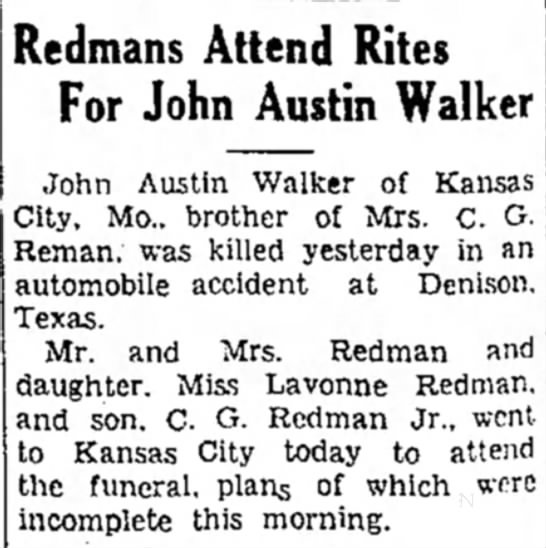 Edna Earl Redman Brother John Austin Walker Auto Accident August 15 1942 Newspapers Com