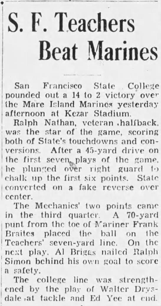 SF Teachers Beat Marines -