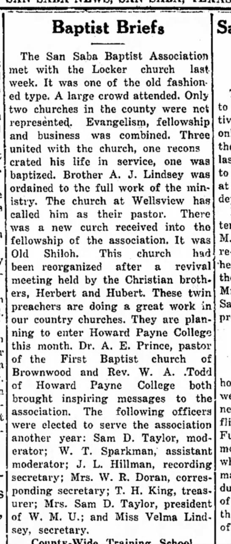 A. J. Lindsey ordained - Baptist Briefs The San Saba Baptist Association...