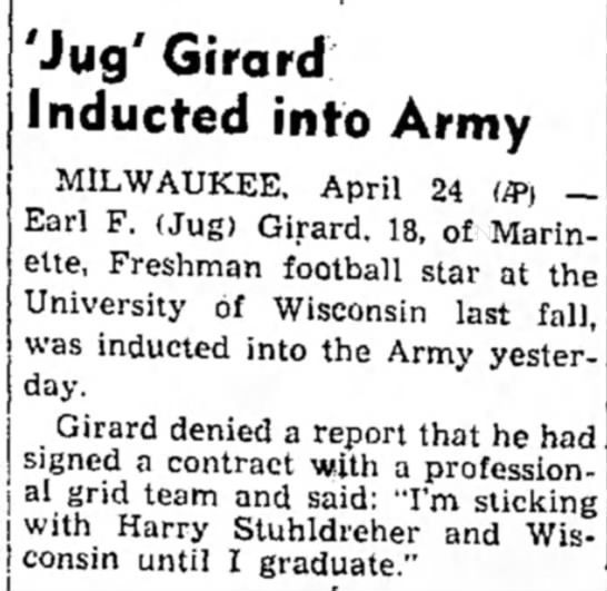 Jug Girard Inducted into Army -
