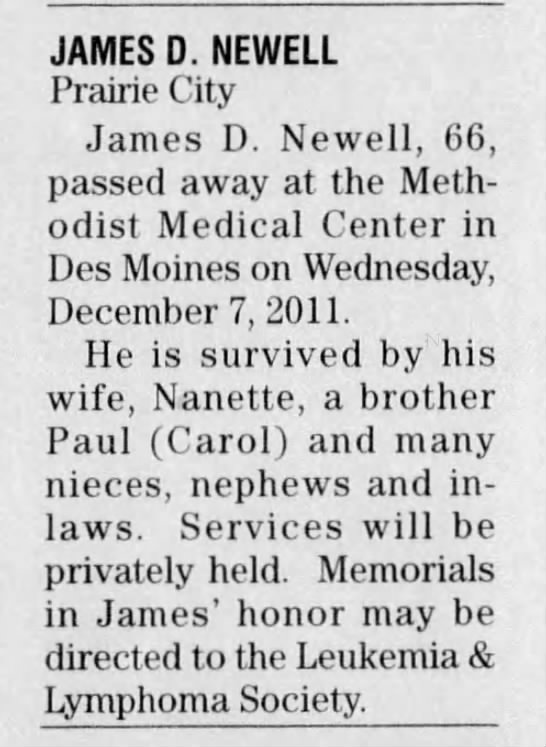 - JAMES D. NEWELL Prairie City James D. Newell,...