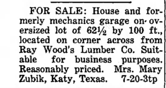 Mary Zubik -- House and formerly mechanics garage for sale -